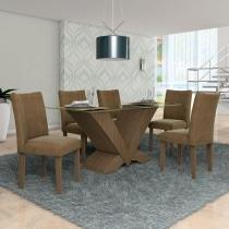 Conjunto Sala de Jantar Mesa Essence e 6 Cadeiras Audace Lj Móveis Nogal/Pena Caramelo -