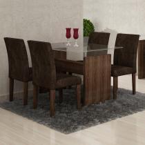 Conjunto Sala de Jantar Mesa Evidence 4 Cadeiras Classic Cel Móveis Malbec/ Suede Pena 83 - Cel Móveis
