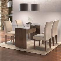 Conjunto Sala de Jantar Mesa Evidence 4 Cadeiras Classic Cel Móveis Malbec/ Suede Pena 84 - Cel Móveis