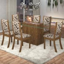 Conjunto Sala de Jantar Mesa Lina 6 Cadeiras Kiara Viero Avelã/Medina - Viero