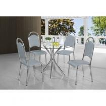 Conjunto Sala de Jantar Mesa Londres 4 Cadeiras Berlim Aço Nobre Cromado - Aço Nobre Móveis