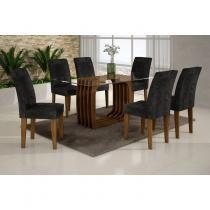 Conjunto Sala de Jantar Mesa Monalisa 1,60m e 6 Cadeiras Viena Rufato Ypê/Penna Preto - Rufato