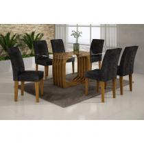 Conjunto Sala de Jantar Mesa Monalisa 1,80m e 6 Cadeiras Viena Rufato Imbuia/Preto - Rufato