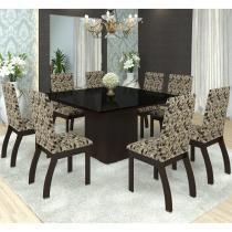Conjunto Sala de Jantar Mesa Nesty e 8 Cadeiras Slin Lupy Siena Móveis Choco/Medina -