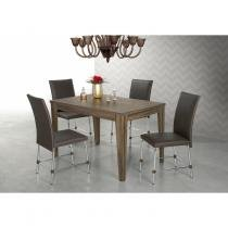 Conjunto Sala de Jantar Mesa Olinda 4 Cadeiras Luana Aço Nobre Nogal/Alumínio - Aço nobre móveis