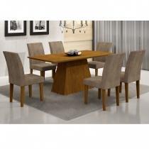 Conjunto Sala de Jantar Mesa Tampo em MDF Luna 180cm 6 Cadeiras Grécia Rufato Imbuia/Animalle Chocolate - Rufato