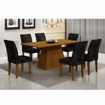 Conjunto Sala de Jantar Mesa Tampo em MDF Luna 180cm 6 Cadeiras Grécia Rufato Imbuia/ Penna Preto - Rufato