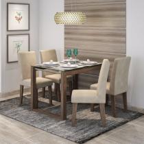 Conjunto Sala de Jantar Mesa Tampo em Vidro Anita 4 Cadeiras Milena Cimol Marrocos/Suede Bege -