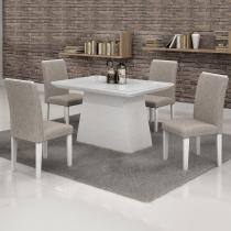 Conjunto Sala de Jantar Mesa Tampo em Vidro Branco 4 Cadeiras Sevilha 120cm Cel Móveis Branco/ Linho 80 -