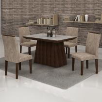 Conjunto Sala de Jantar Mesa Tampo em Vidro Off White 4 Cadeiras Sevilha Cel Móveis Malbec/ Suede Pena 84 -