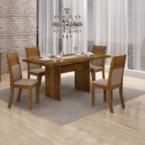 Conjunto Sala de Jantar Mesa Tampo MDF 4 Cadeiras Hawai Leifer Canela/Linho Bege -