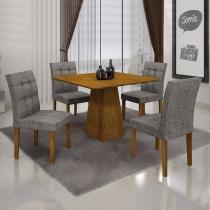Conjunto Sala de Jantar Mesa Tampo MDF 4 Cadeiras Itália Leifer Canela/Linho Cinza -