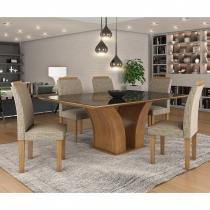 Conjunto Sala de Jantar Mesa Tampo MDF/Vidro Leblom 6 Cadeiras Pietra LJ Móveis Castanho Prêmio - LJ Móveis