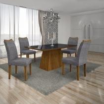 Conjunto Sala de Jantar Mesa Tampo MDF/Vidro Preto 4 Cadeiras Pampulha Leifer Canela/Linho Cinza - Leifer