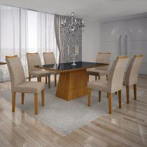 Conjunto Sala de Jantar Mesa Tampo MDF/Vidro Preto 6 Cadeiras Pampulha Leifer Imbuia Mel/Linho Bege -
