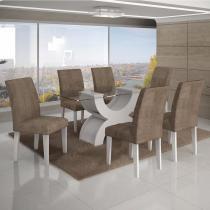 Conjunto Sala de Jantar Mesa Tampo Vidro 160cm 6 Cadeiras Olímpia New Leifer Branco/Animale Capuccino -