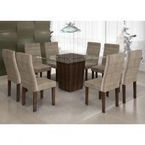 Conjunto Sala de Jantar Mesa Tampo Vidro 8 Cadeiras Ômega Cel Móveis Malbec/ Suede Animale Bege -