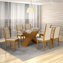 Conjunto Sala de Jantar Mesa Tarsila 1,60m e 6 Cadeiras Laguna Rufato Imbuia/Veludo Creme - Rufato
