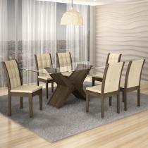 Conjunto Sala de Jantar Mesa Tarsila 180cm e 6 Cadeiras Laguna Rufato Ypê/Matelassê - Rufato