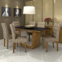 Conjunto Sala de Jantar Mesa Vidro Preto Apogeu 6 Cadeiras Fiorella Móveis Lopas Rovere/Velvet Bege -