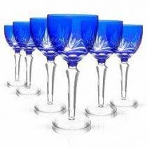 Conjunto Taças de Cristal Lapidado Azul 260ml 6 peças - Decorafast