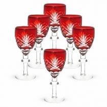 Conjunto Taças de Cristal Lapidado Vermelho 60ml 6 peças - Decorafast