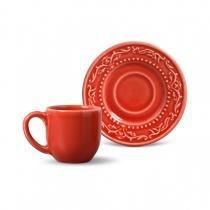 Conjunto xícaras de cafe 6 pecas acanthus vermelho porto brasil - Porto brasil