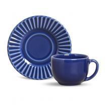 Conjunto xícaras de cafe 6 pecas plisse azul navy porto brasil - Porto brasil