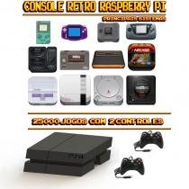 Console Retrô Mini PS4 RetroPie 25.000 Jogos + 2 Controles XBOX 360 - Bd net imports