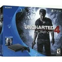 Console Sony Playstation 4 (PS4) Slim / 500GB / 2 Controles / Jogo Uncharted 4 - Sony