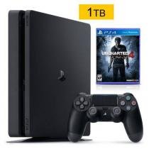 Console Sony Playstation 4 Slim 1tb com jogo Uncharted 4 mídia física - Sony