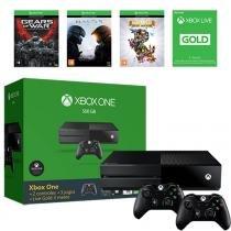 Console Xbox One 500gb + 2 Controles + 3 Jogos + Live - Microsoft