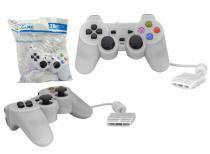 Controle para PS2 KNUP com Fio Branco KP-2121A -OEM KP-2121A KNUP -
