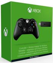 Controle sem Fio para Xbox One + Adaptador sem fio p/ PC - Preto - Microsoft