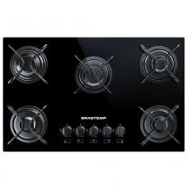 Cooktop 5 bocas Brastemp com grades piatina e acendimento automático -