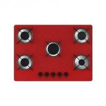 Cooktop 5 bocas chama rápida tetris vermelho bivolt - Vermelho - Casa vitra