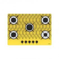 Cooktop 5 bocas chama rápida wavy amarelo bivolt - Amarelo - Casa vitra