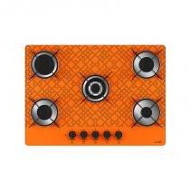 Cooktop 5 bocas tripla chama tetris laranja bivolt - Laranja - Casa vitra