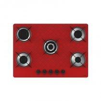 Cooktop 5 bocas tripla chama tetris vermelho bivolt - Vermelho - Casa vitra