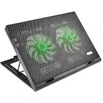 Cooler Para Notebook Warrior Power Gamer Led Verde Luminoso - AC267 - Multilaser -