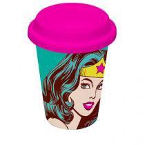 Copo Cerâmica com Tampa de Silicone Mulher Maravilha DC Comics - Rosa - Único - Gorila Clube