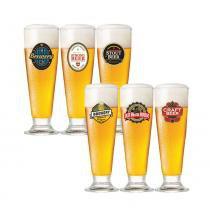 Copo de Cerveja Tulipa Vidro 300ML 6 Peças - 29466 - Happy hour