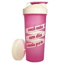Coqueteleira Slim - 600ml Rosa/Fumê - OtimaNutri -