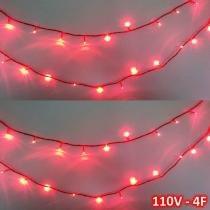 Cordão 100 leds 10m vermelho 110volts fio vermelho 4f cbrn0692 - Commerce brasil