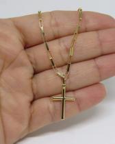 Cordão Corrente Masculina Ouro 60cm 2.7 Gr E Pingente Crucifixo Ouro 18k 750 Cadeado - Dr joias