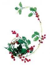 Cordão de folha azevinho berries 180 cm - Yangzi