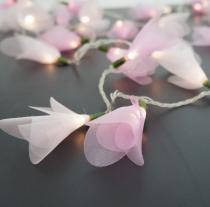 Cordão de Luz Flor Organza 2 Tons de Rosa Pilha 20 Leds - Crie casa