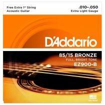 Cordas Para Violão Ez900-B 6 Cordas Extra Light D Addario - Daddario
