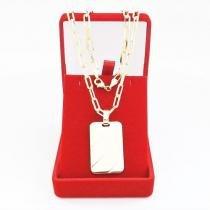 Corrente Masculina Cordão 50cm 4mm Pingente Placa Tudo Folheada á Ouro Cod: 1770/1879 - Gabriela costa semi jóias