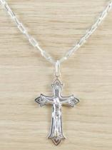Corrente Masculina Cordão 60cm 4mm e Pingente Crucifixo Tudo Folheado Prata - Gabriela costa semi jóias